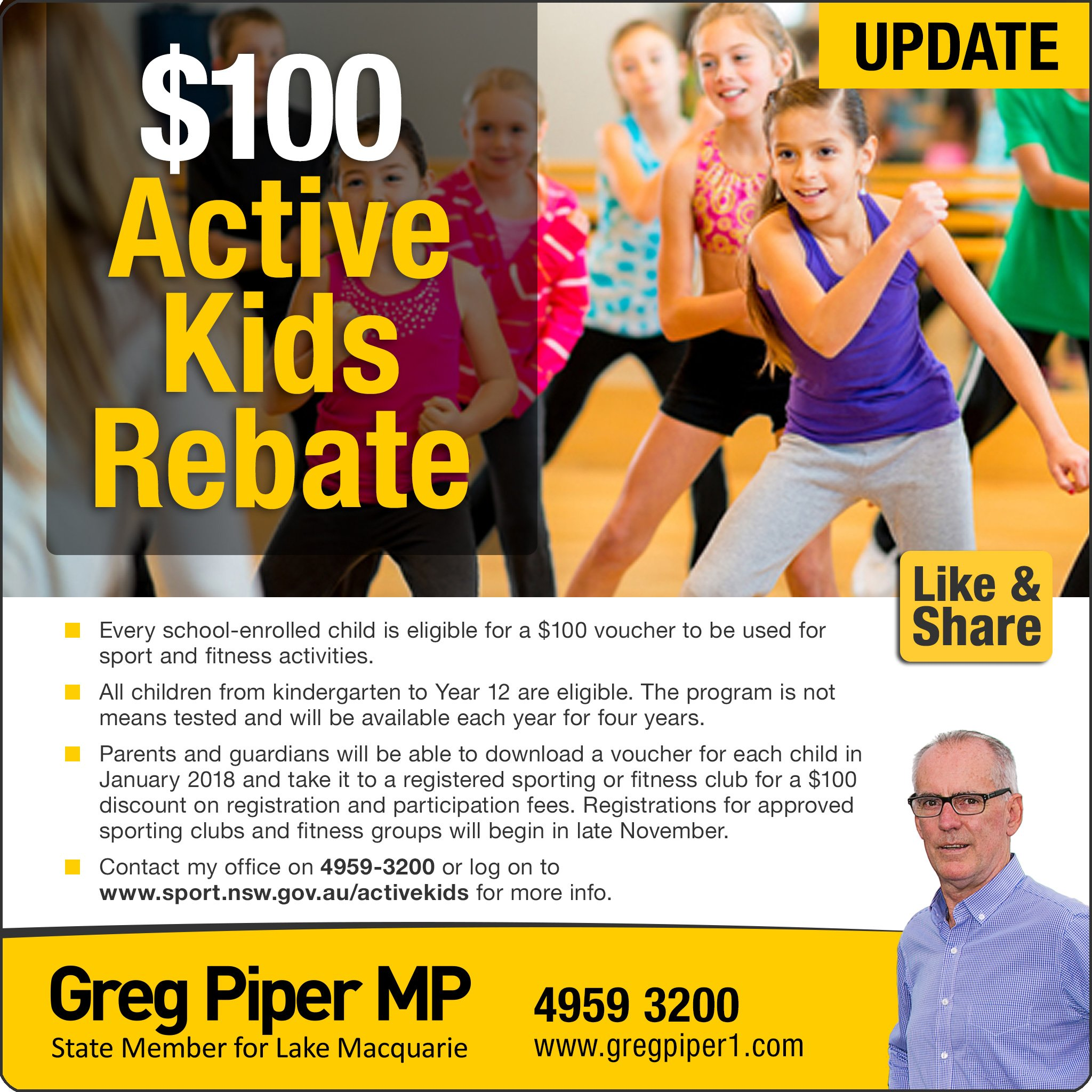 Here's a brief update on the $100 Active Kids bonus which was announced in the State Budget. Sporting and fitness clubs can register from late November,