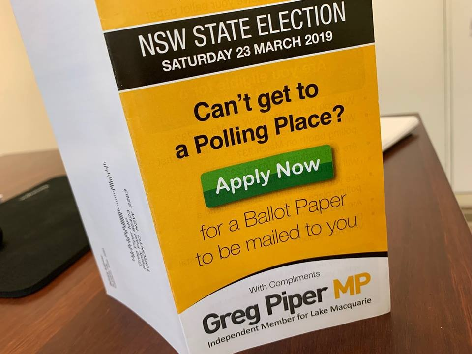 As you're no doubt aware, the State election will be held on March 23. If you're going to be away or are unable to visit a polling booth on that day, you can apply now for a postal vote application form.