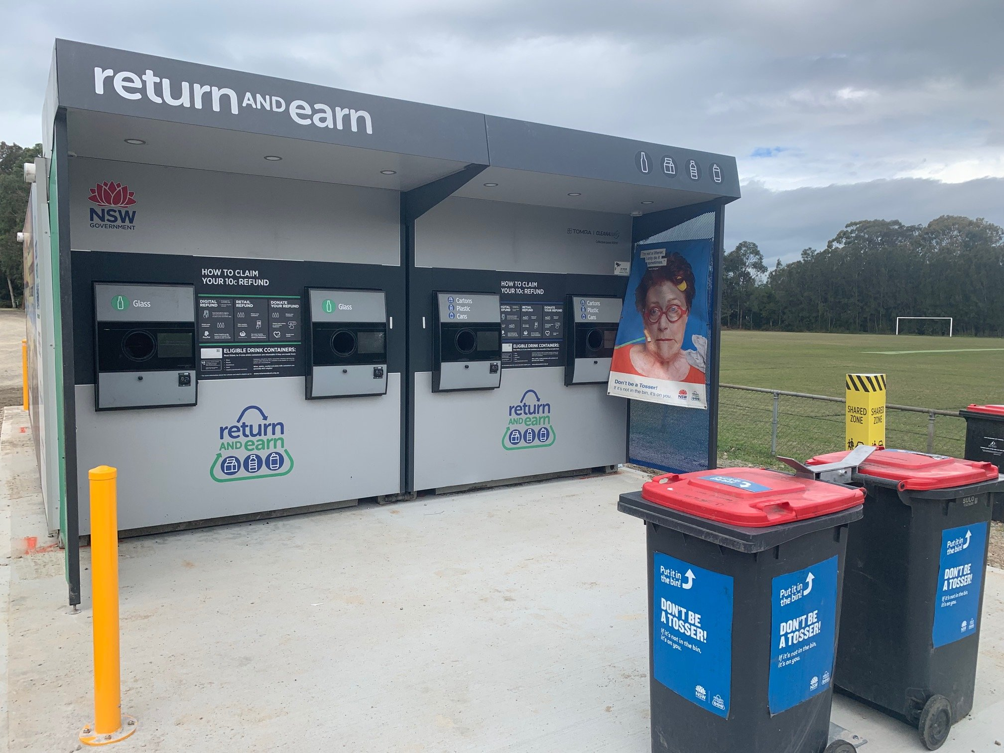 The new Return & Earn recycling machines have arrived at Croft Oval Fassifern (pictured) and Wangi Oval at Wangi and are almost ready to go.
