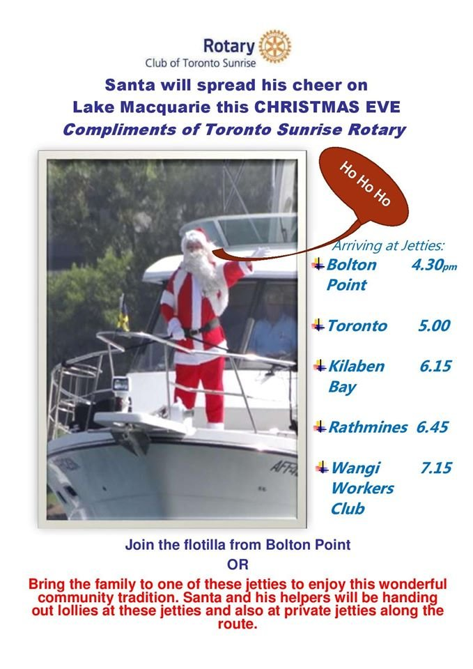 With a bit of help from the Rotary Club of Toronto Sunrise, Santa will be making his annual boat trek down the western side of the lake this afternoon.