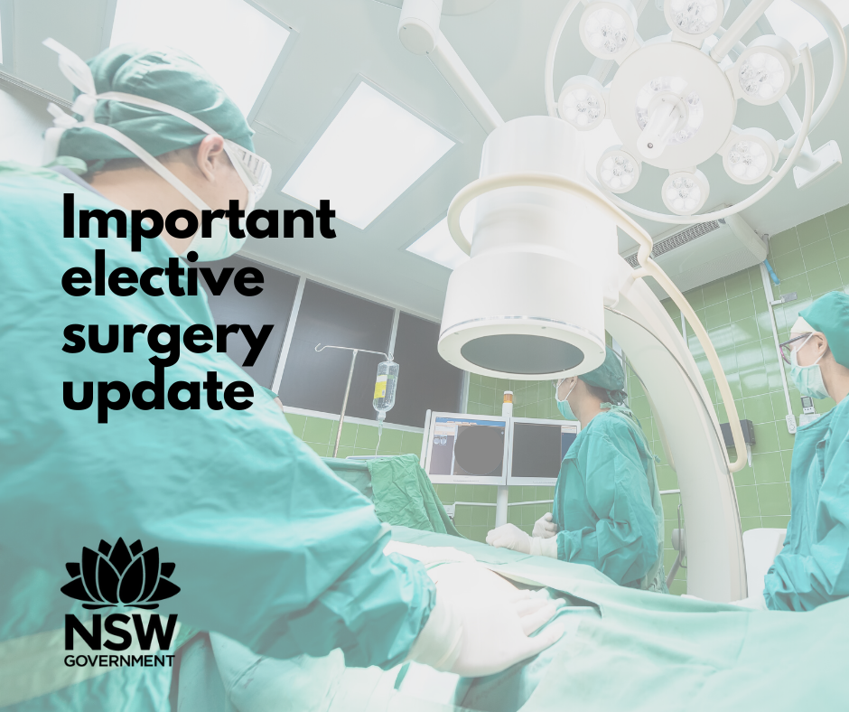 I know many people will be pleased to hear that elective surgery is being restarted at local hospitals and surgeries. Cancelled because of the Covid-19