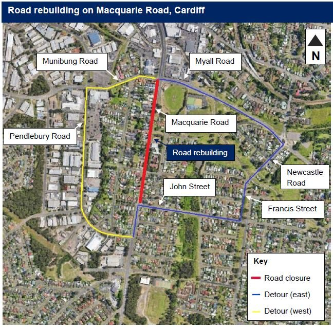 I've been advised that a section of Macquarie Road at Cardiff will be closed at night next week for a significant rebuild. The 650m section between John Street