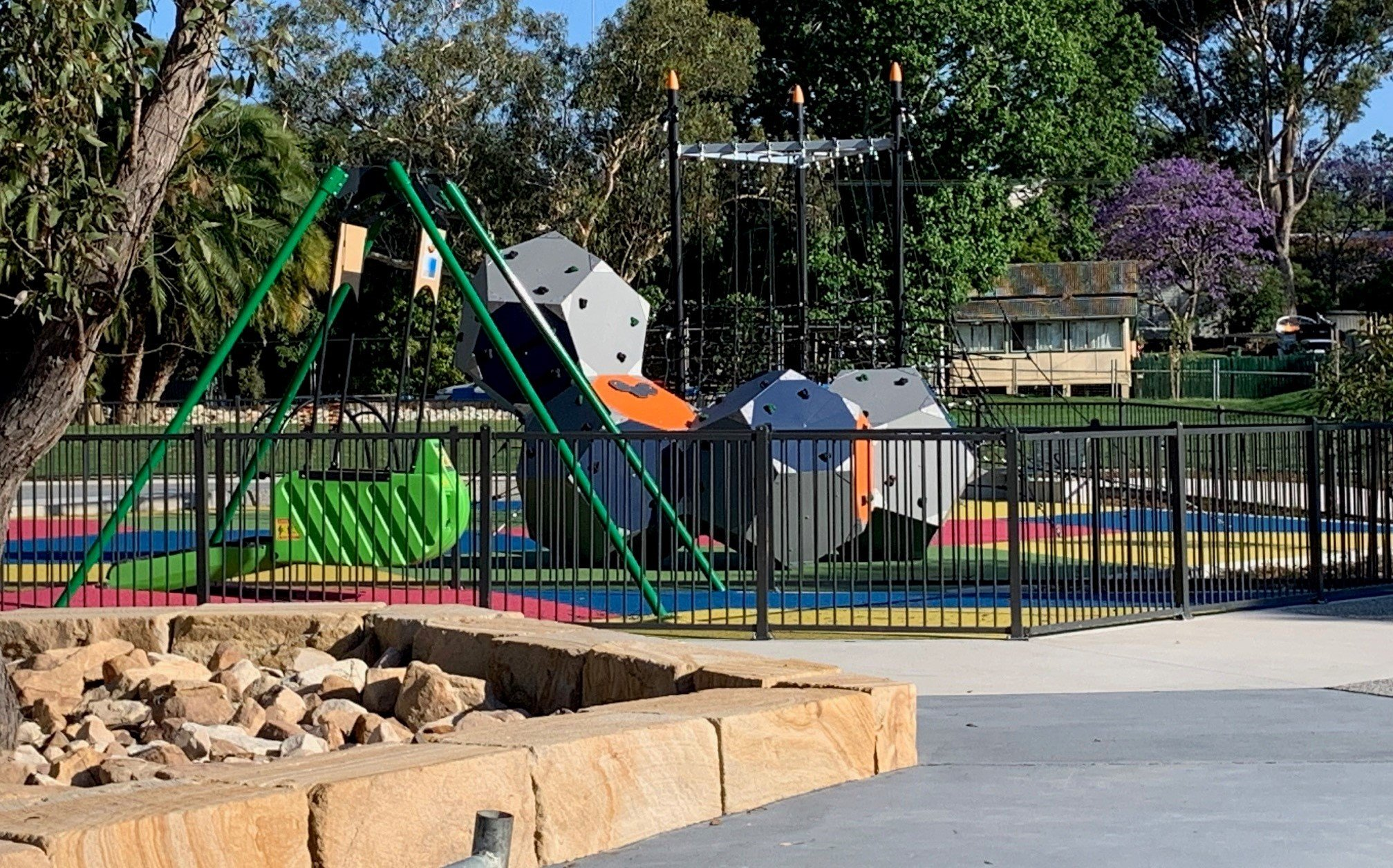 The new playground at Morisset's Bernie Goodwin Memorial Park is now open. It features an upper activity area for younger kids and a lower area for older kids, as