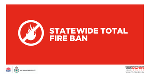 With very hot days forecast for Thursday and Saturday, a total fire ban will be in effect throughout the entire State from midnight tonight.