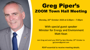 I'm really excited to announce my upcoming ZOOM Town Hall meeting with special guest speaker Minister for Energy and Environment Matt Kean. It will be held on