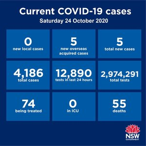 NO locally-acquired cases in NSW for the second day running. Very good news! NSW had 5 new cases among returned overseas travellers. They were all diagnosed while