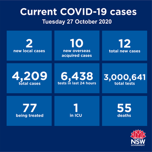 NSW has recorded 12 new cases in the past 24 hours, but 10 are returned overseas travellers already quarantined, and the other two are household contacts of people