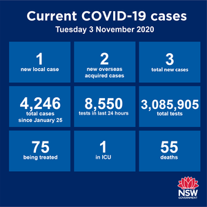 hree new cases reported in NSW over the past 24 hours. Of those, two are returned overseas travellers in hotel quarantine while the third was acquired at a Liverpool