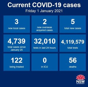 There were 3 new cases in NSW in the 24 hours to 8pm, and 2 among the returned overseas travellers. Each of the three new cases was recorded in Western Sydney but