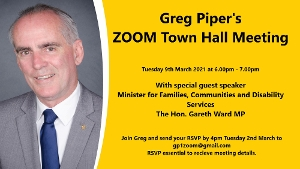 I'm pleased to invite you to attend my upcoming Lake Macquarie Zoom Meeting. Our special guest speaker will be Gareth Ward, Minister for Families,
