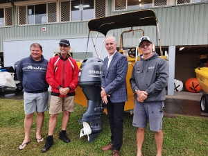 I dropped in to Teralba Amateur Sailing Club today to see the new motor the club recently purchased with a $10,000 grant from the State Government's Community